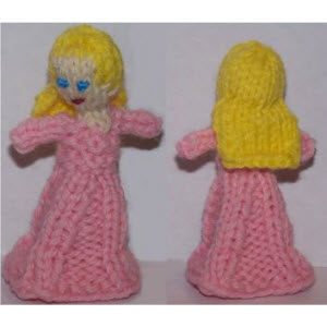 Female Finger Puppet (4-rib skirt--long straight hair)