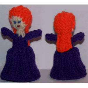 Female Finger Puppet (8-rib skirt--long wavy hair)