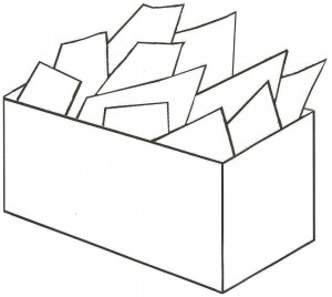 box with piles of papers