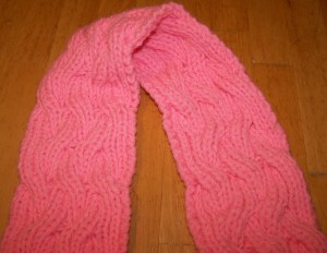 Reversible Cable Scarf (closeup)
