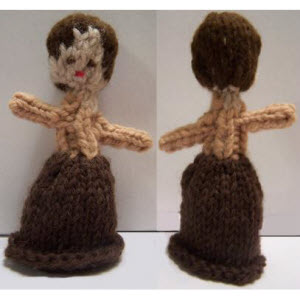 Female Finger Puppet (bell skirt--short straight hair)