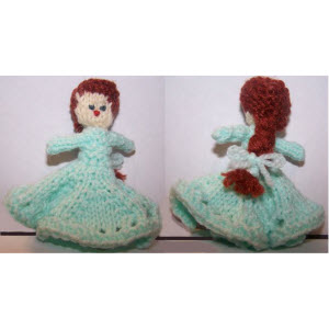 Female Finger Puppet (gore skirt--curly braid hair)