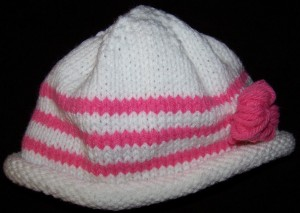 Pink Striped Baby Hat with Rolled Brim