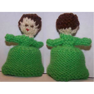 Female Finger Puppet (reverse-stockinette skirt--short curly hair)
