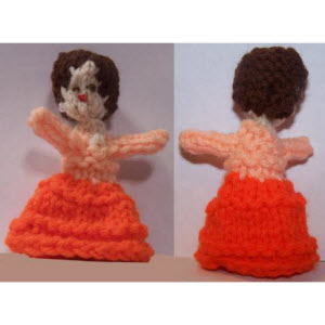 Female Finger Puppet (ruffle skirt--short curly hair)