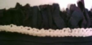 knitting along back of rug (backing removed)