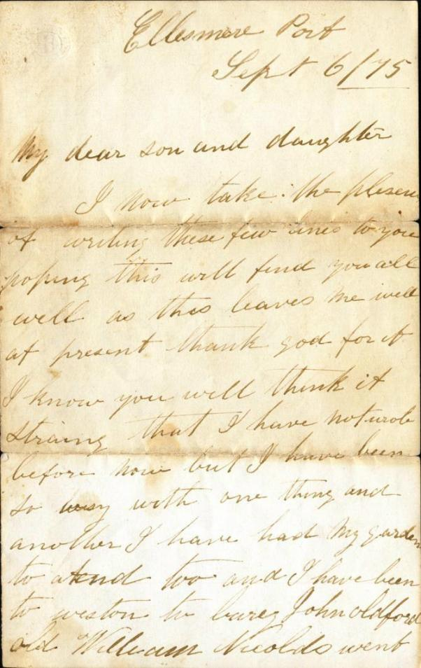 Letter from Sarah Owen to Mary Ann Owen Rogers - page 1