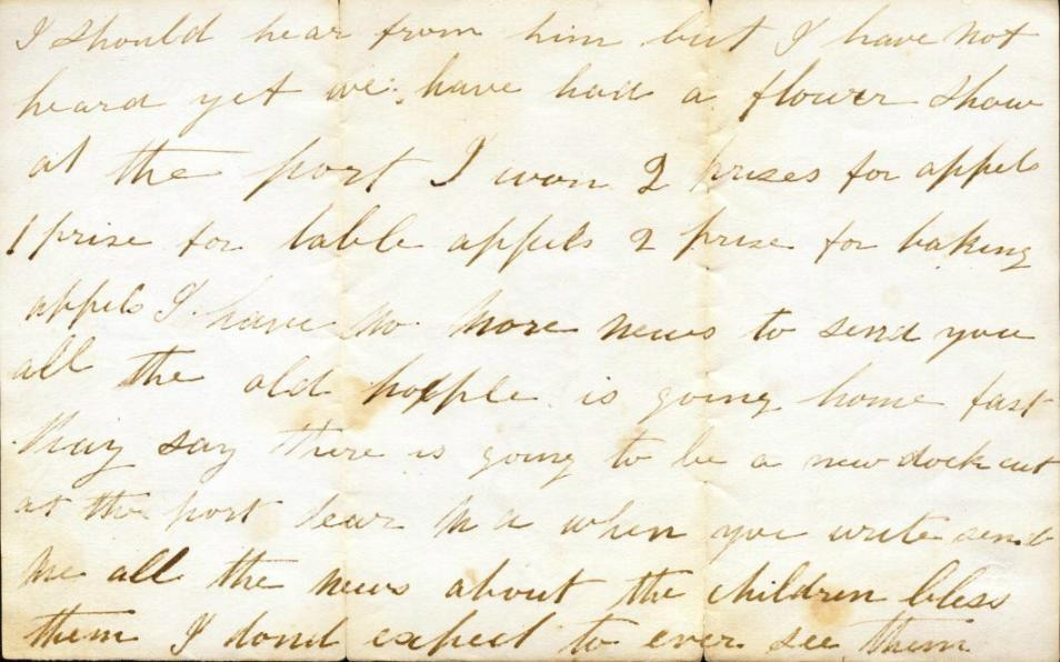 Letter from Sarah Owen to Mary Ann Owen Rogers - page 3