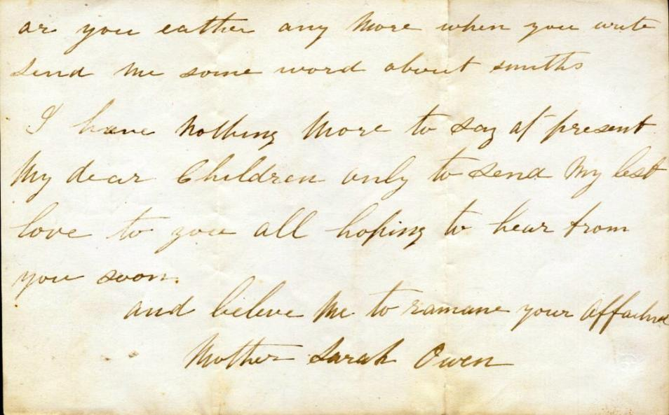 Letter from Sarah Owen to Mary Ann Owen Rogers - page 4