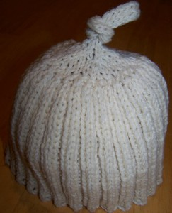 Knit Ribbed Hat with Knot at the Top